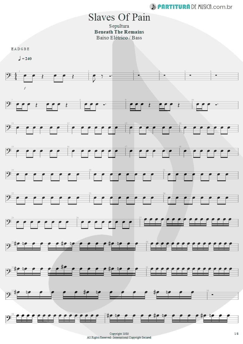 Partitura de musica de Baixo Elétrico - Slaves Of Pain | Sepultura | Beneath the Remains 1989 - pag 1