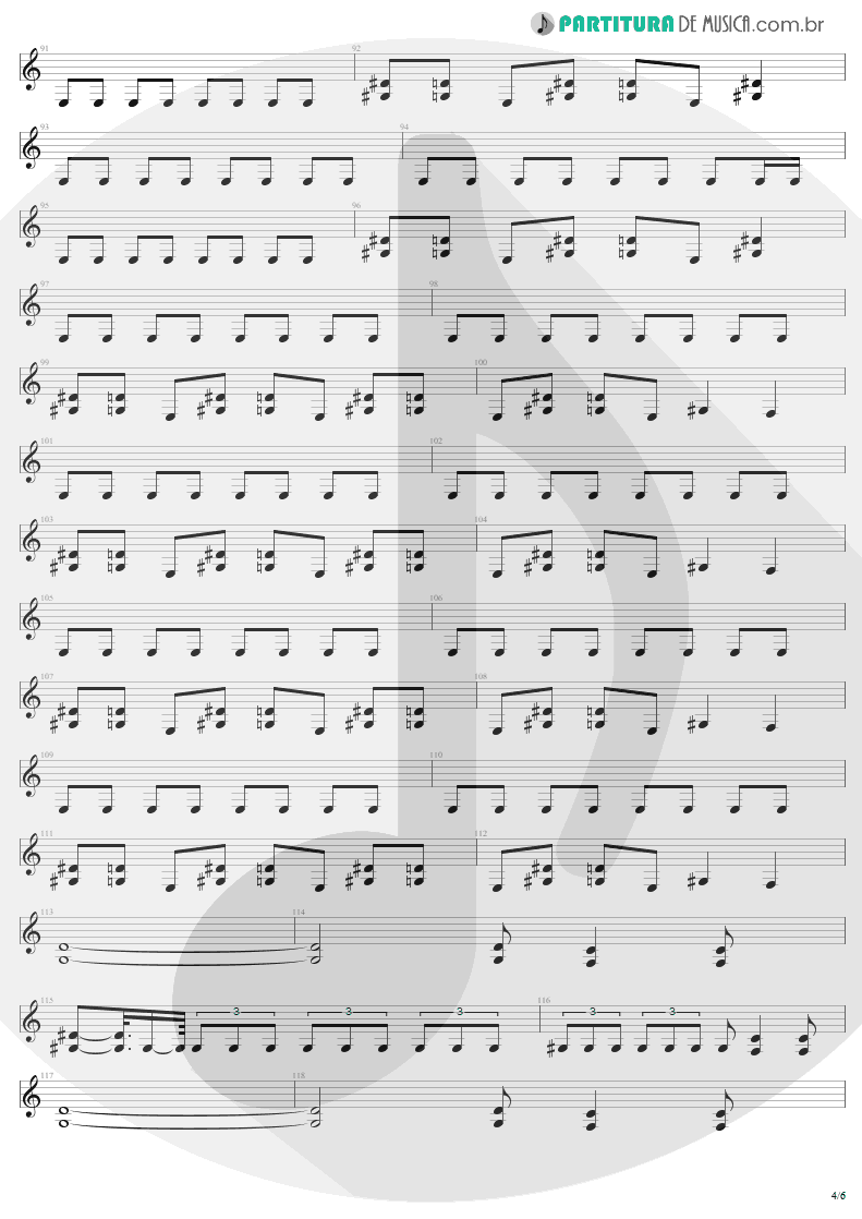 Partitura de musica de Guitarra Elétrica - Arise | Sepultura | Arise 1991 - pag 4