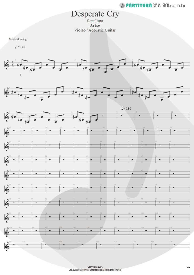 Partitura de musica de Violão - Desperate Cry | Sepultura | Arise 1991 - pag 1