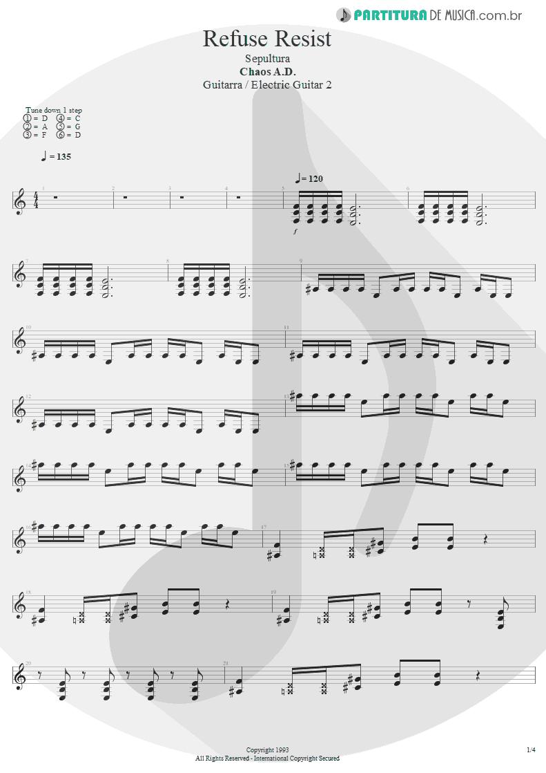 Partitura de musica de Guitarra Elétrica - Refuse/Resist   Sepultura   Chaos A.D. 1993 - pag 1