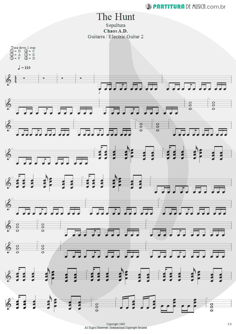 Partitura de musica de Guitarra Elétrica - The Hunt | Sepultura | Chaos A.D. 1993 - pag 1
