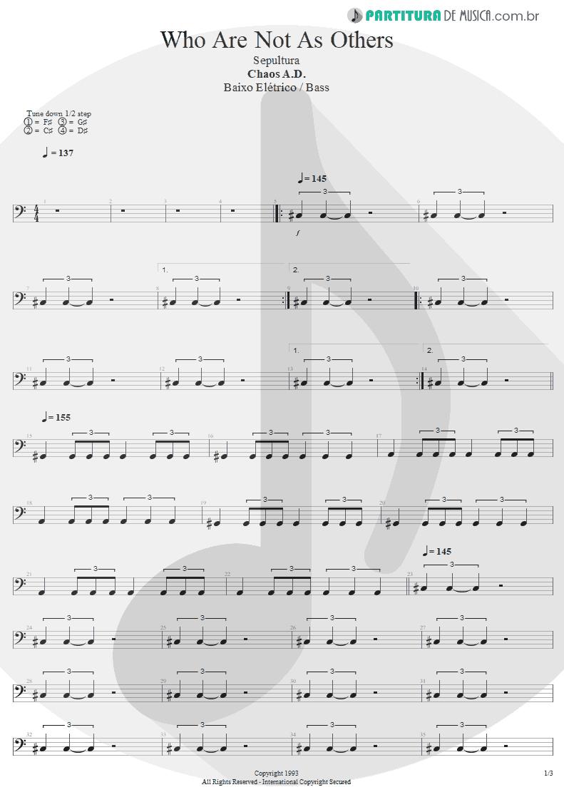 Partitura de musica de Baixo Elétrico - We Who Are Not As Others | Sepultura | Chaos A.D. 1993 - pag 1
