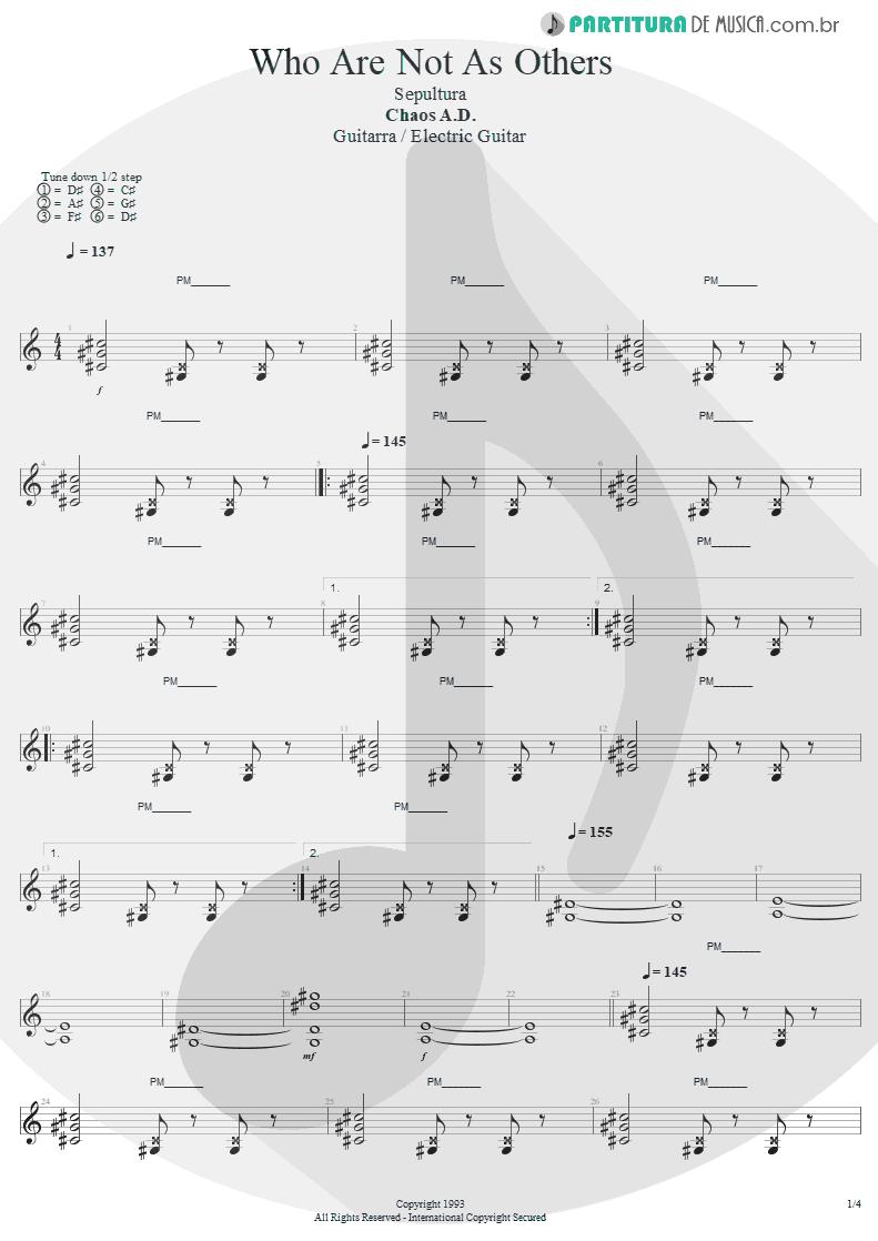 Partitura de musica de Guitarra Elétrica - We Who Are Not As Others | Sepultura | Chaos A.D. 1993 - pag 1