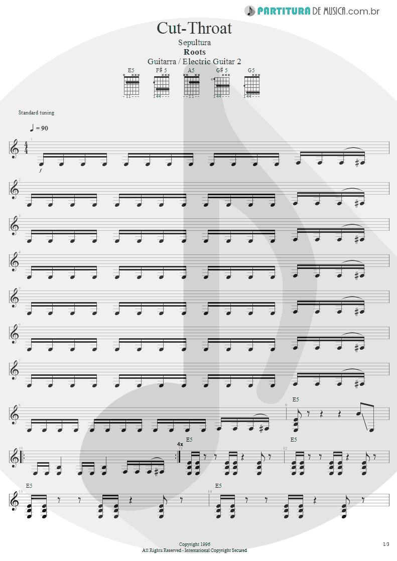 Partitura de musica de Guitarra Elétrica - Cut-Throat | Sepultura | Roots 1996 - pag 1