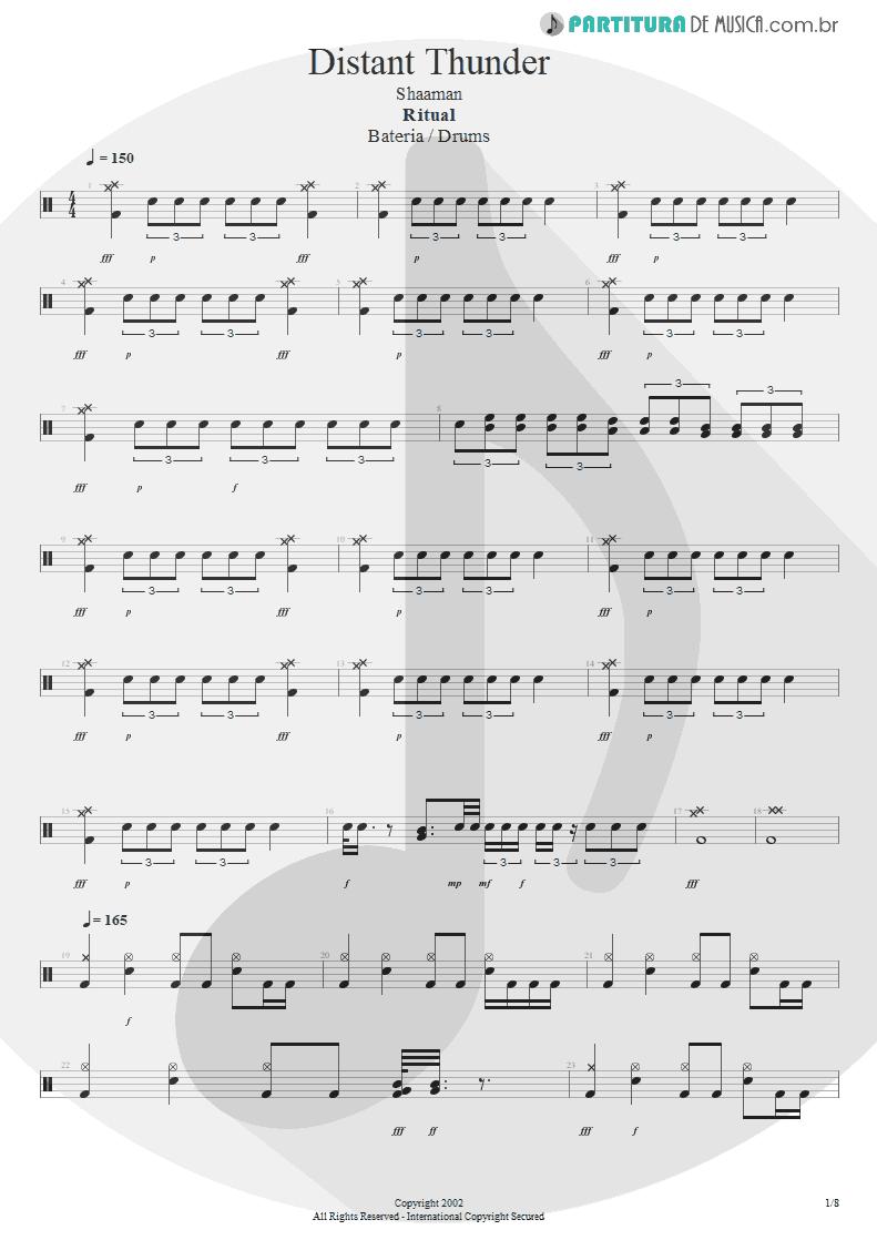Partitura de musica de Bateria - Distant Thunder | Shaaman | Ritual 2002 - pag 1