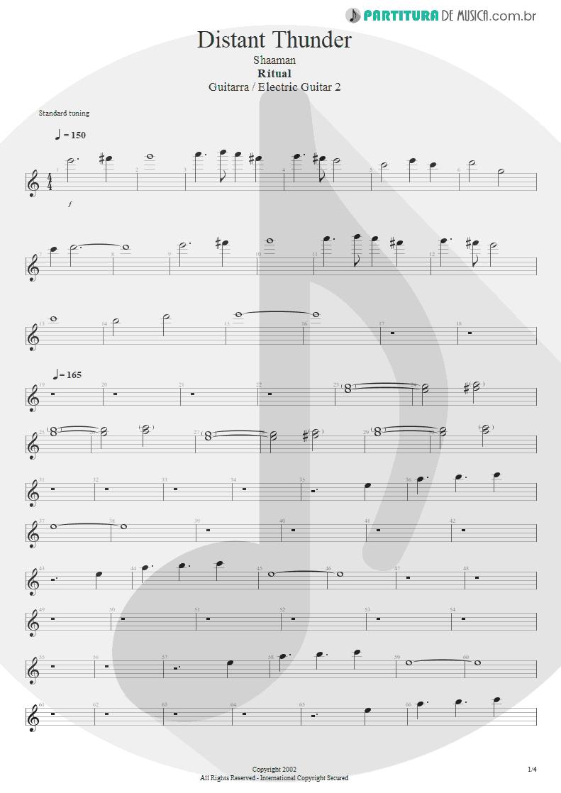Partitura de musica de Guitarra Elétrica - Distant Thunder | Shaaman | Ritual 2002 - pag 1