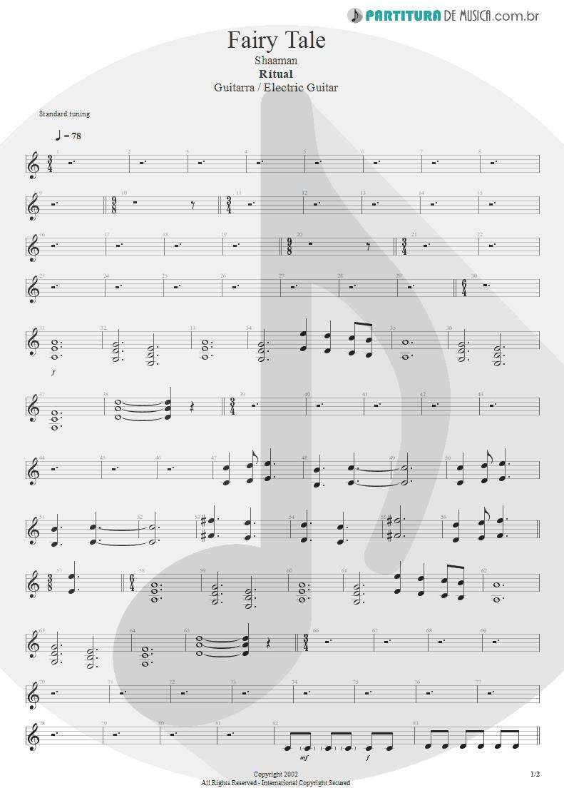 Partitura de musica de Guitarra Elétrica - Fairy Tale | Shaaman | Ritual 2002 - pag 1
