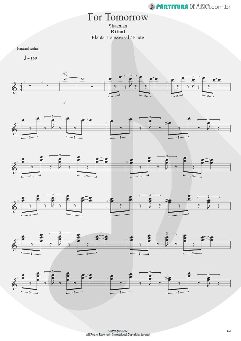 Partitura de musica de Flauta Transversal - For Tomorrow | Shaaman | Ritual 2002 - pag 1