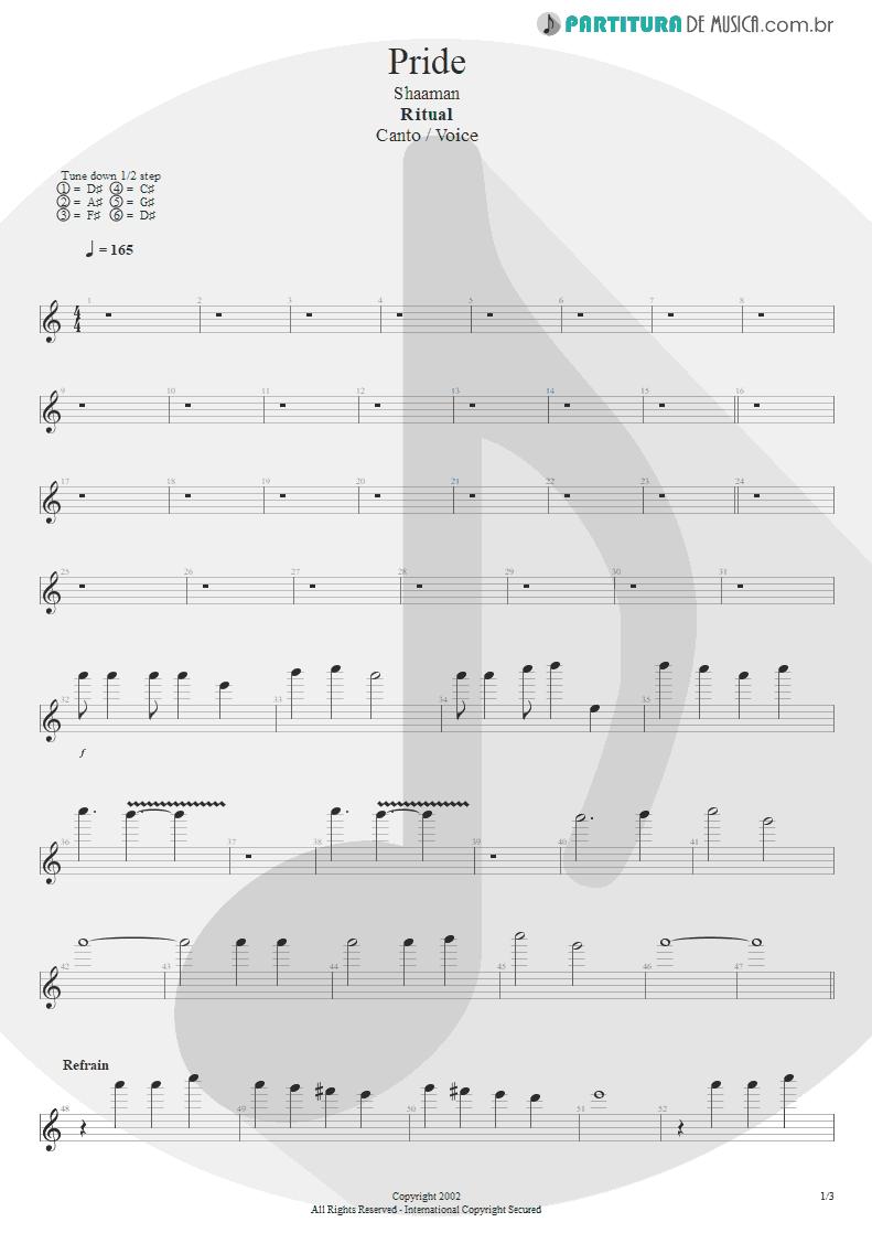 Partitura de musica de Canto - Pride | Shaaman | Ritual 2002 - pag 1
