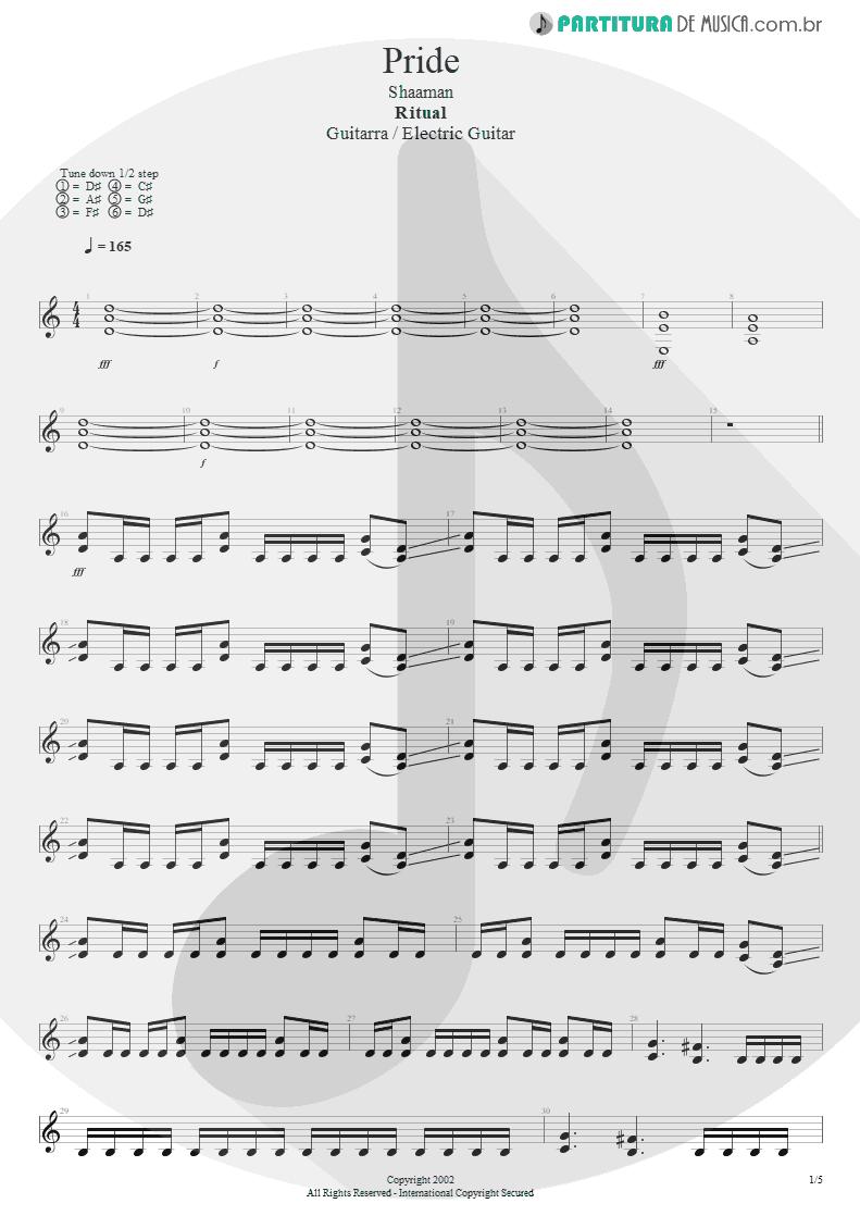 Partitura de musica de Guitarra Elétrica - Pride | Shaaman | Ritual 2002 - pag 1