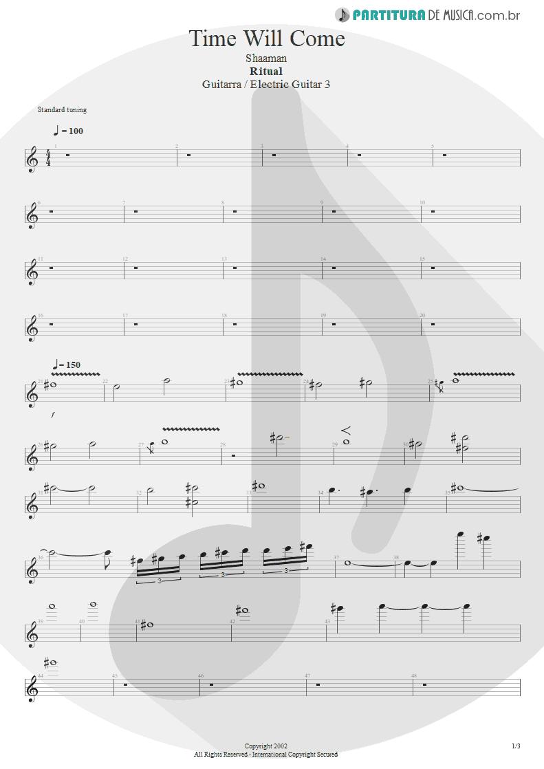 Partitura de musica de Guitarra Elétrica - Time Will Come | Shaaman | Ritual 2002 - pag 1