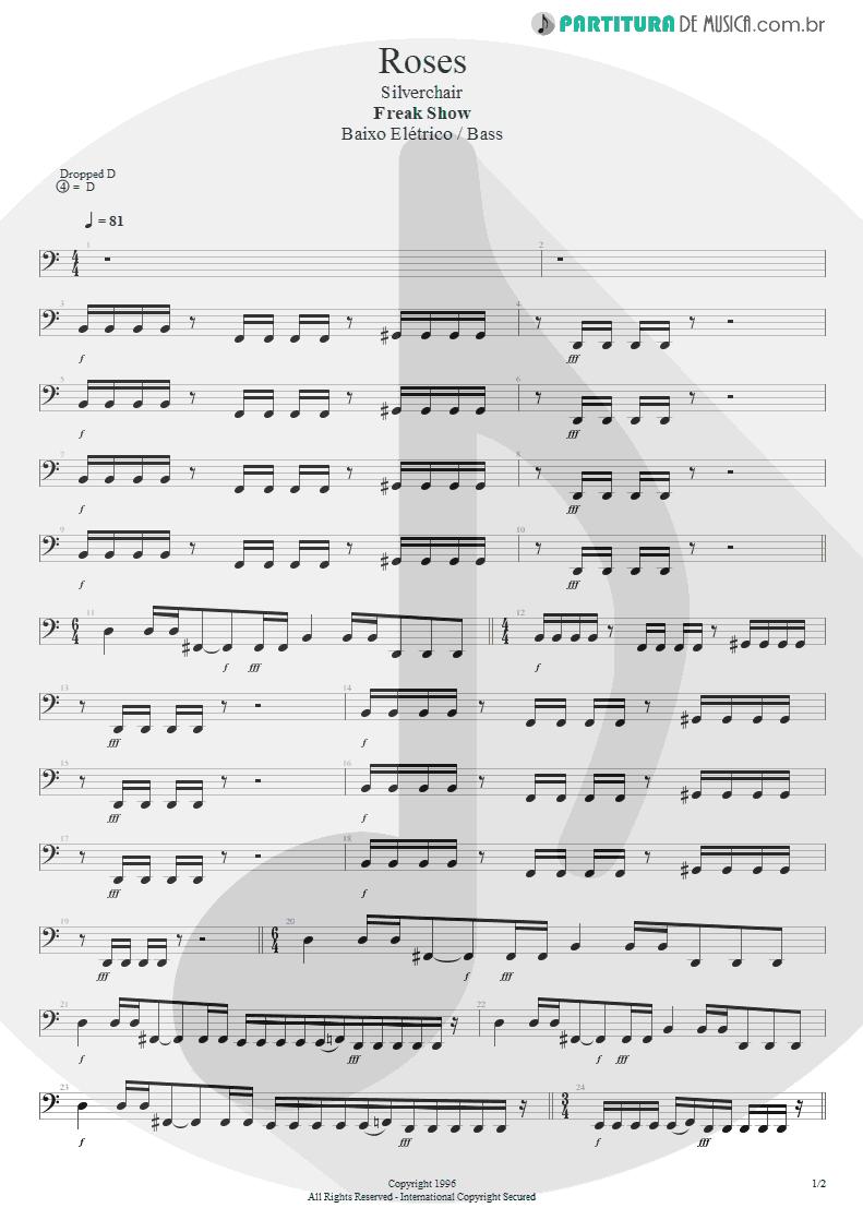 Partitura de musica de Baixo Elétrico - Roses | Silverchair | Freak Show 1996 - pag 1