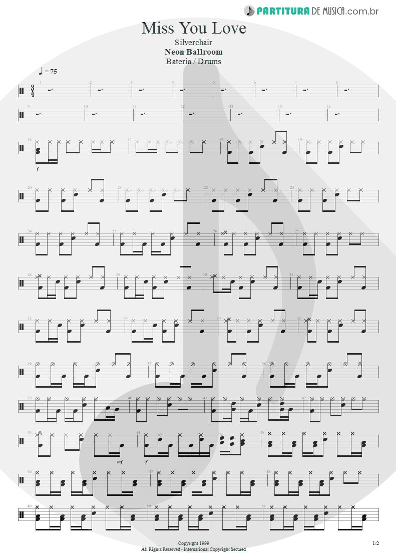 Partitura de musica de Bateria - Miss You Love | Silverchair | Neon Ballroom 1999 - pag 1