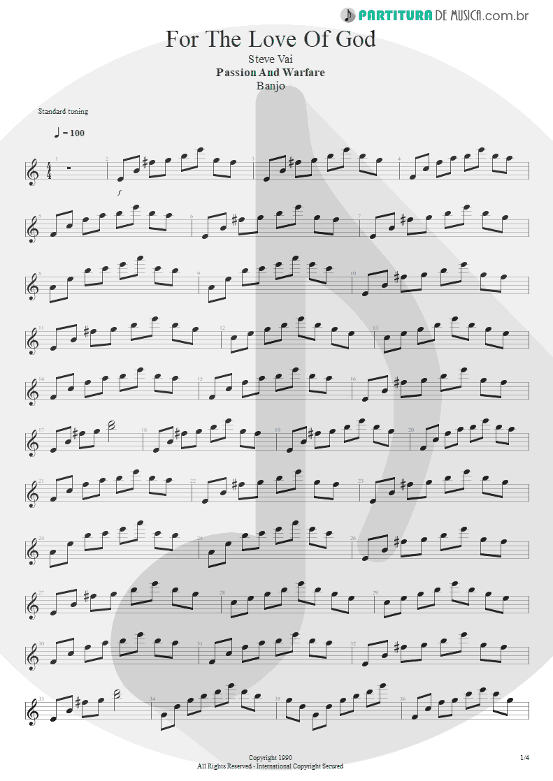 Partitura de musica de Banjo - For The Love Of God | Steve Vai | Passion and Warfare 1990 - pag 1