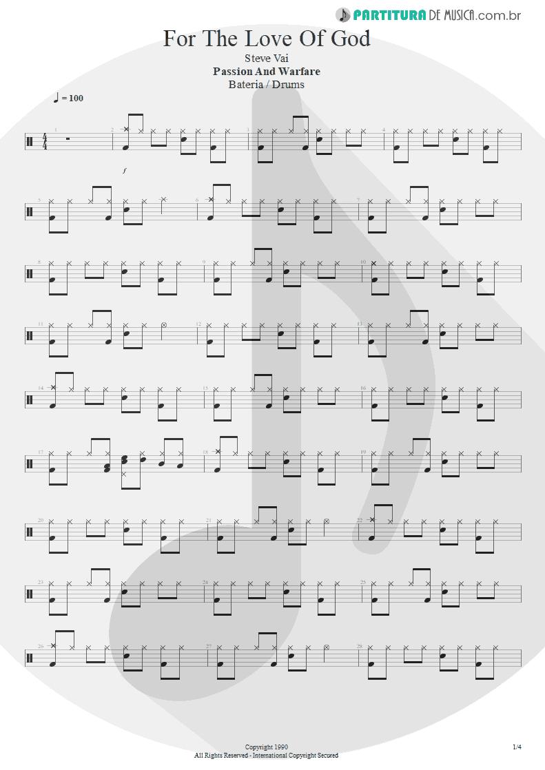 Partitura de musica de Bateria - For The Love Of God   Steve Vai   Passion and Warfare 1990 - pag 1