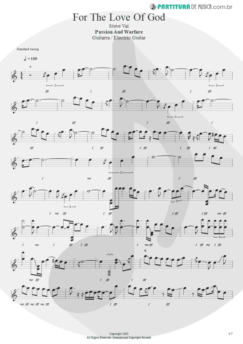 Partitura de musica de Guitarra Elétrica - For The Love Of God   Steve Vai   Passion and Warfare 1990 - pag 1