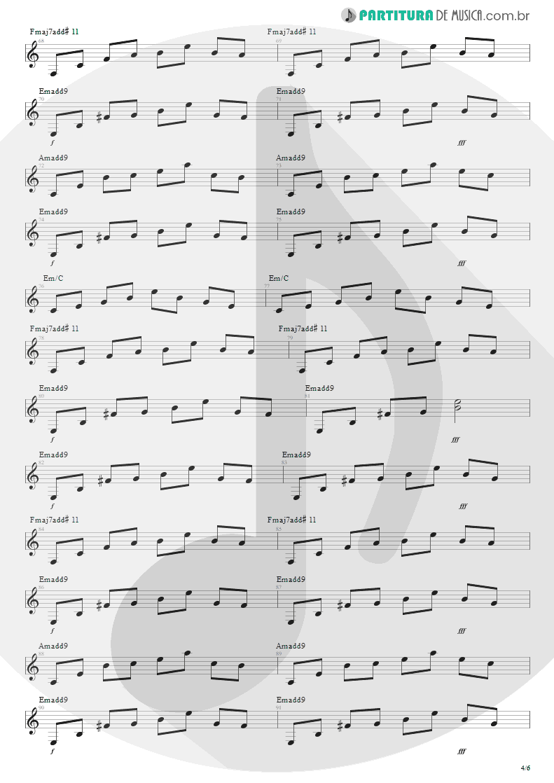 Partitura de musica de Sitar - For The Love Of God | Steve Vai | Passion and Warfare 1990 - pag 4