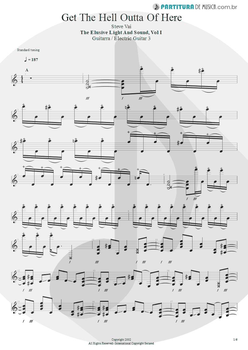Partitura de musica de Guitarra Elétrica - Get The Hell Outta Of Here | Steve Vai | The Elusive Light and Sound Vol. 1 2002 - pag 1