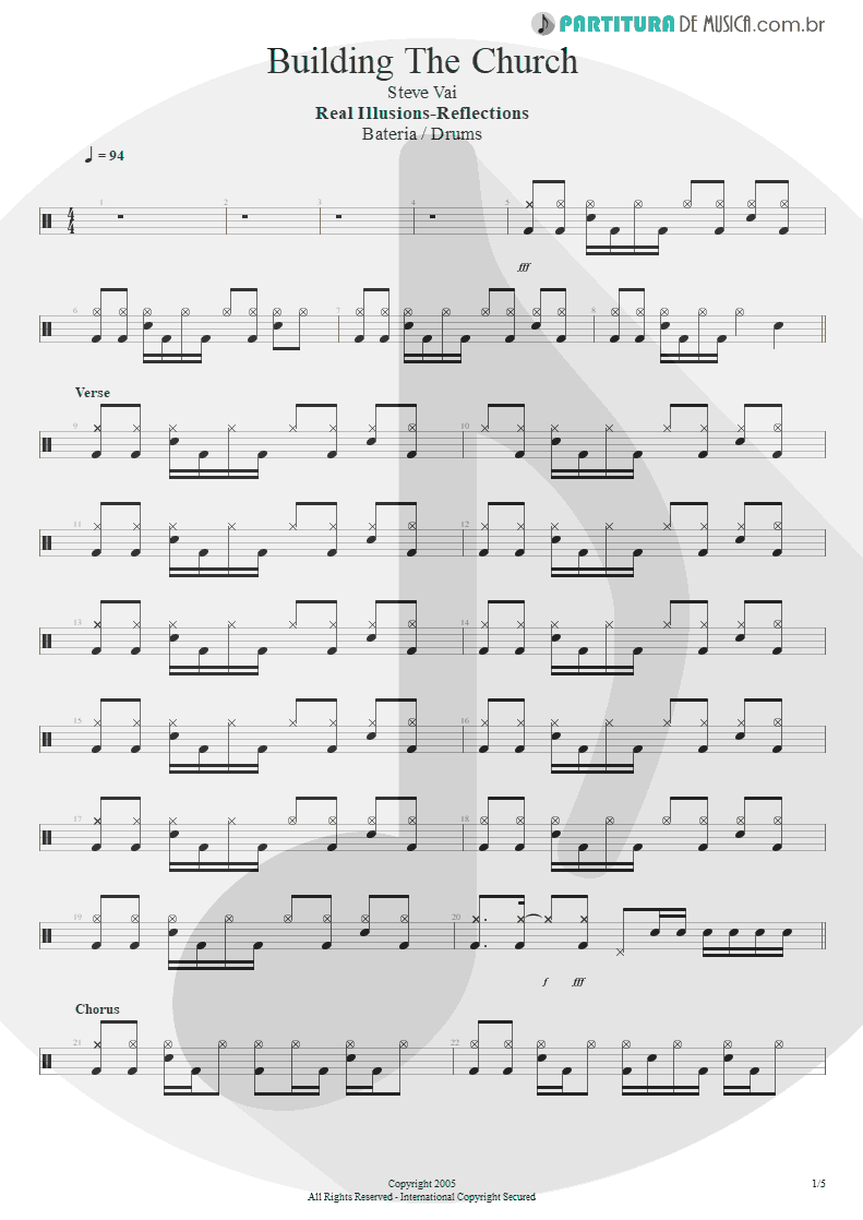 Partitura de musica de Bateria - Building The Church | Steve Vai | Real Illusions: Reflections 2005 - pag 1