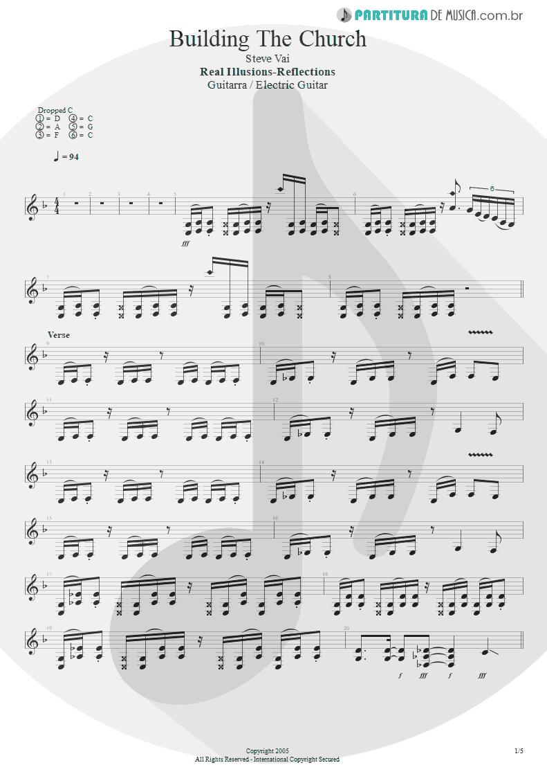 Partitura de musica de Guitarra Elétrica - Building The Church | Steve Vai | Real Illusions: Reflections 2005 - pag 1
