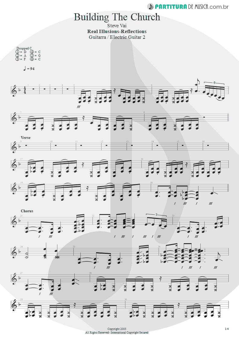 Partitura de musica de Guitarra Elétrica - Building The Church   Steve Vai   Real Illusions: Reflections 2005 - pag 1