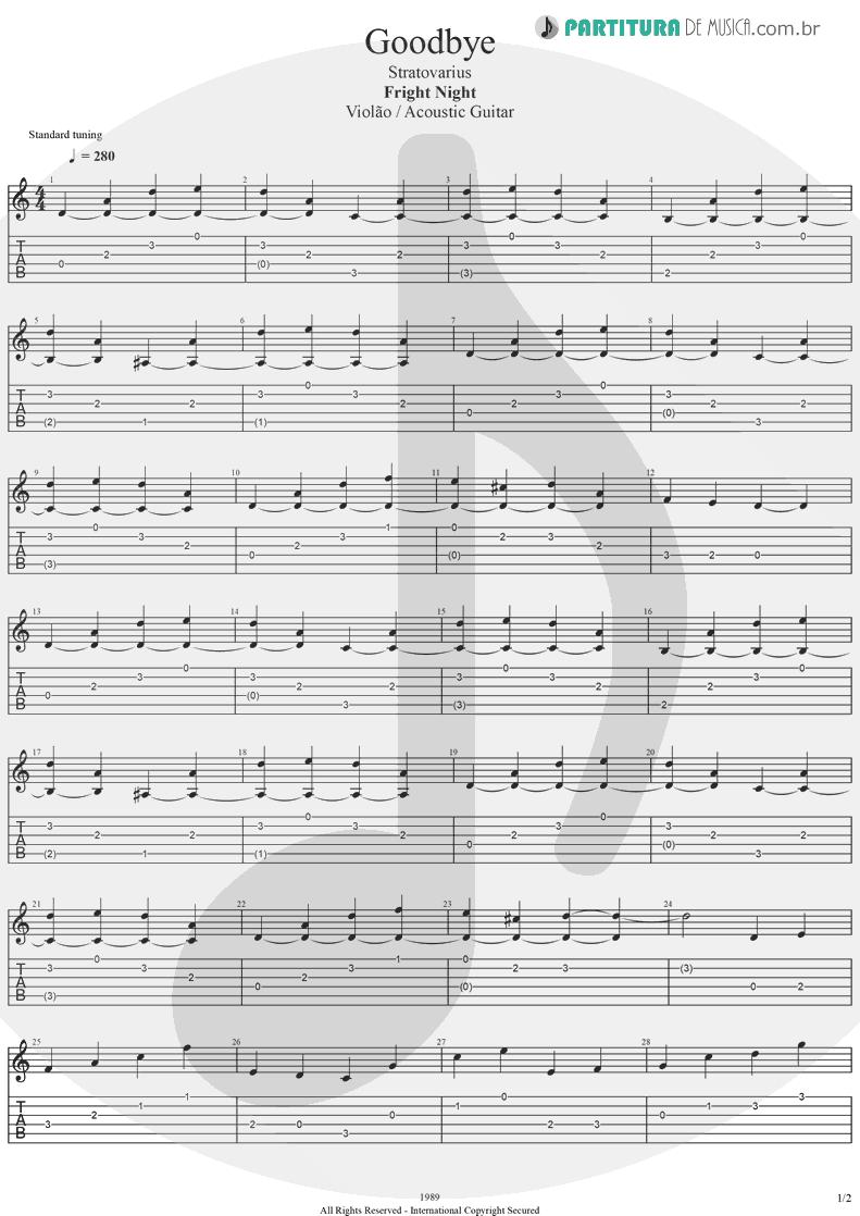 Tablatura + Partitura de musica de Violão - Goodbye | Stratovarius | Fright Night 1989 - pag 1