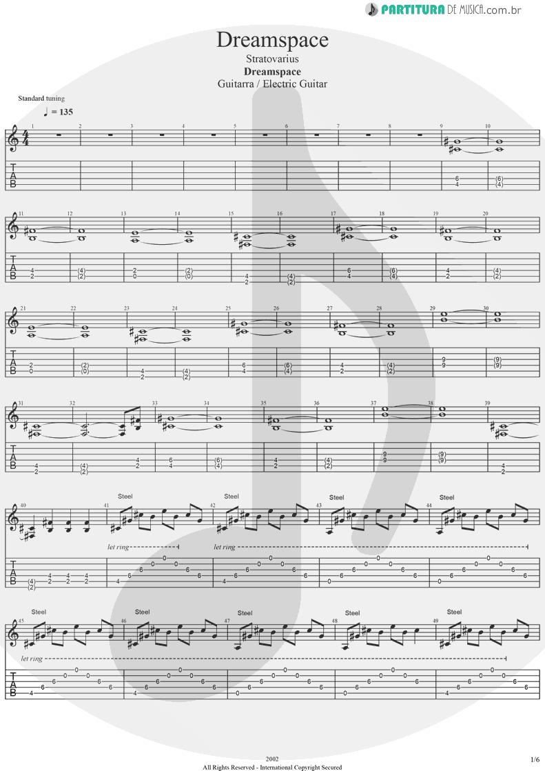Tablatura + Partitura de musica de Guitarra Elétrica - Dreamspace | Stratovarius | Dreamspace 1994 - pag 1