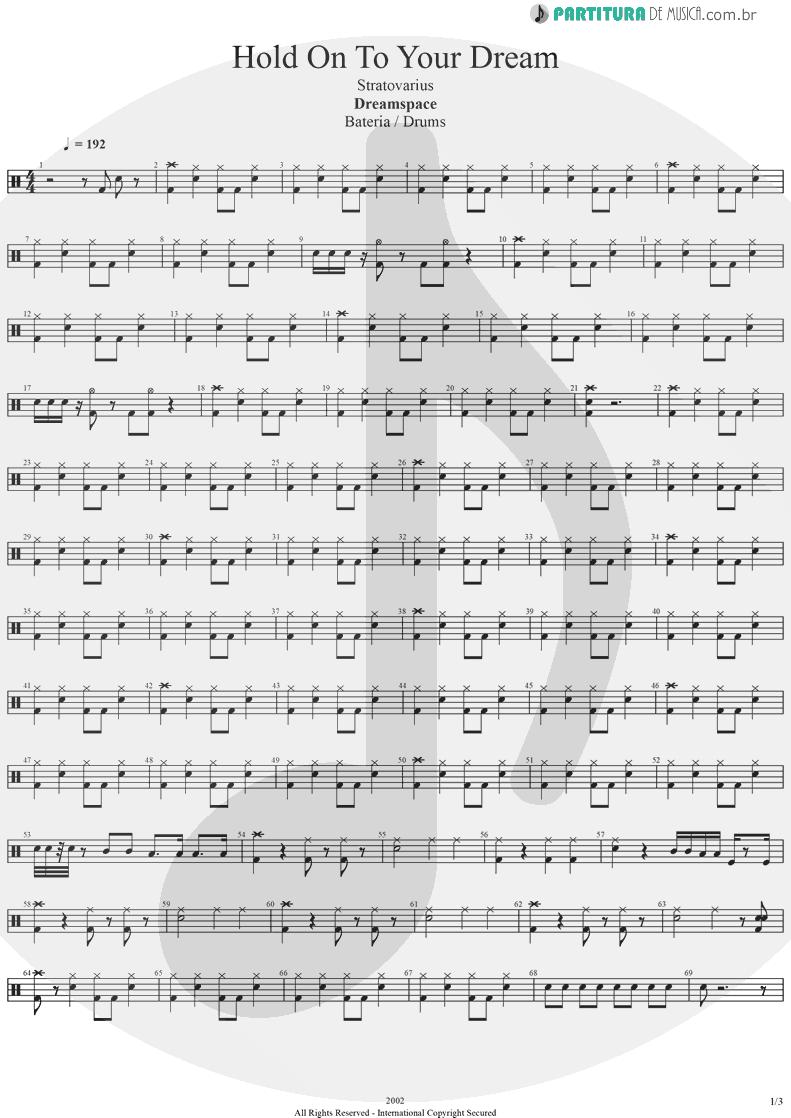 Partitura de musica de Bateria - Hold On To Your Dream | Stratovarius | Dreamspace 1994 - pag 1