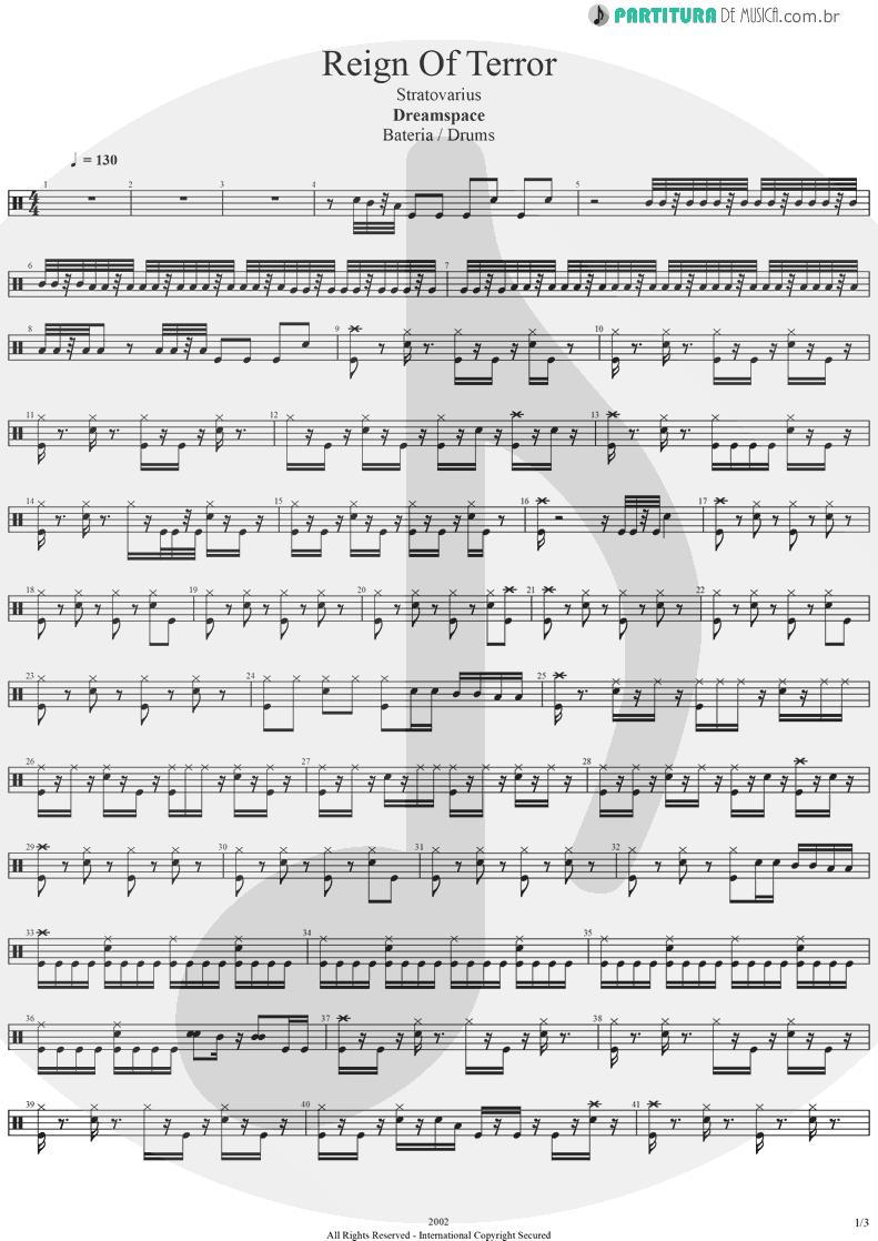 Partitura de musica de Bateria - Reign Of Terror | Stratovarius | Dreamspace 1994 - pag 1