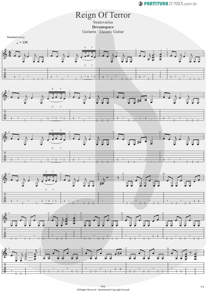 Tablatura + Partitura de musica de Guitarra Elétrica - Reign Of Terror | Stratovarius | Dreamspace 1994 - pag 1