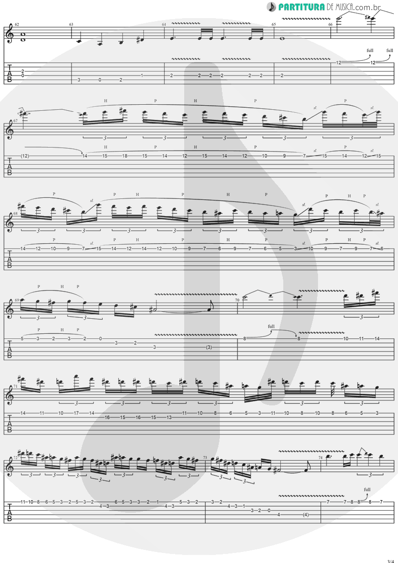 Tablatura + Partitura de musica de Guitarra Elétrica - Against The Wind | Stratovarius | Fourth Dimension 1995 - pag 3