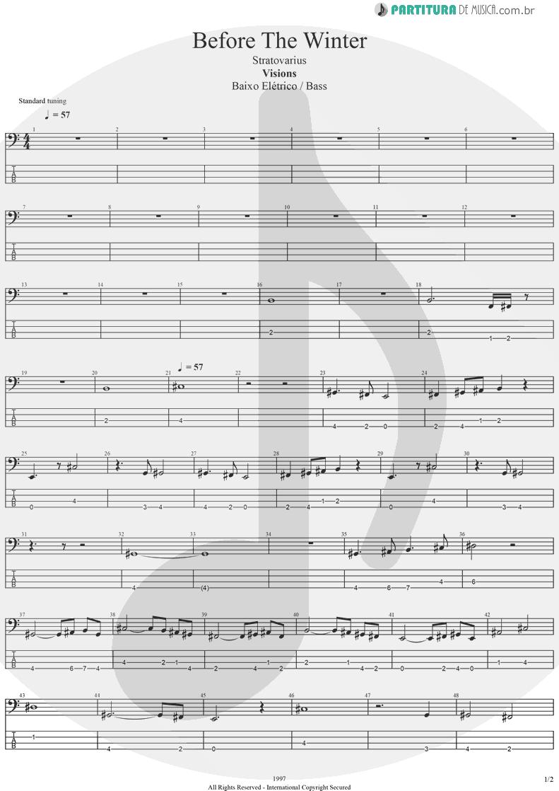 Tablatura + Partitura de musica de Baixo Elétrico - Before The Winter | Stratovarius | Visions 1997 - pag 1