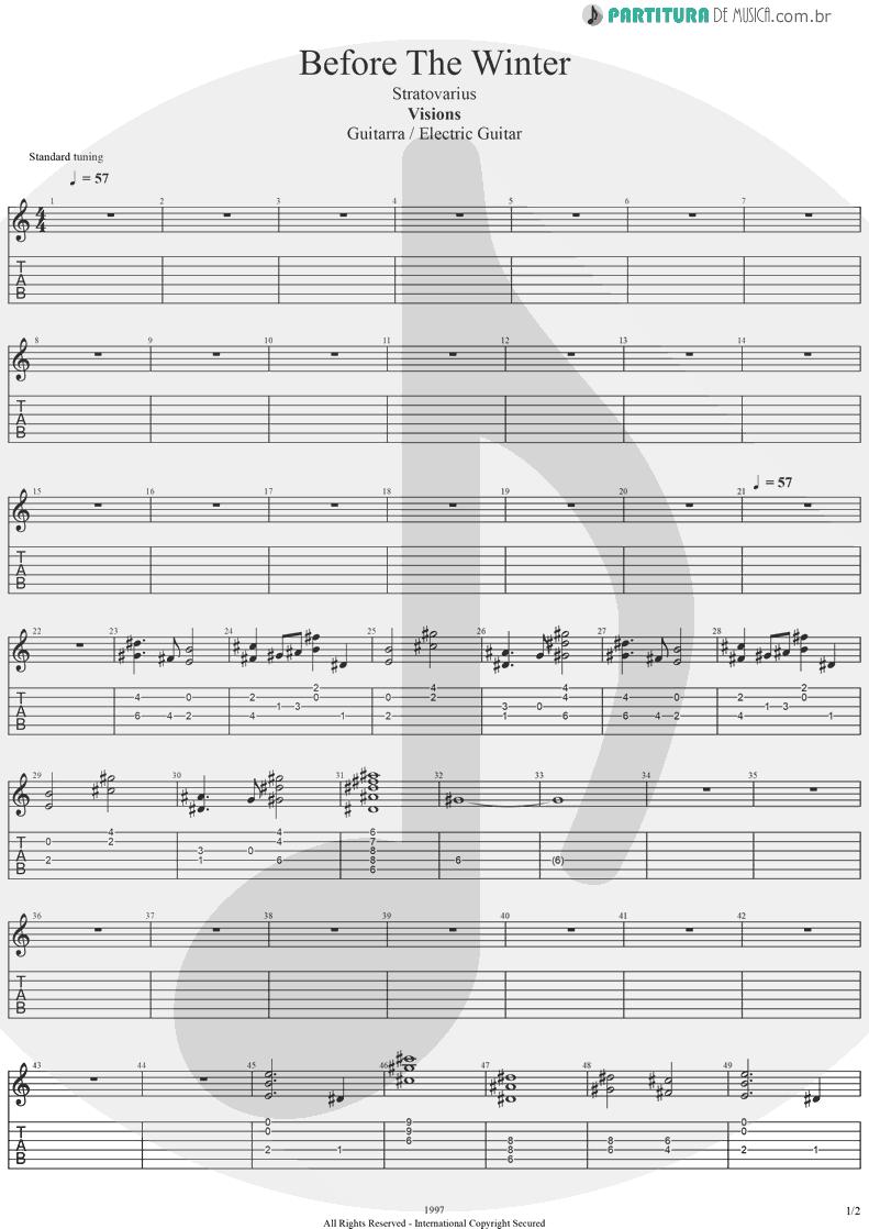 Tablatura + Partitura de musica de Guitarra Elétrica - Before The Winter | Stratovarius | Visions 1997 - pag 1
