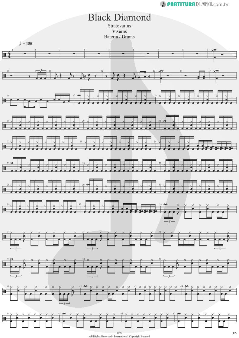 Partitura de musica de Bateria - Black Diamond   Stratovarius   Visions 1997 - pag 1