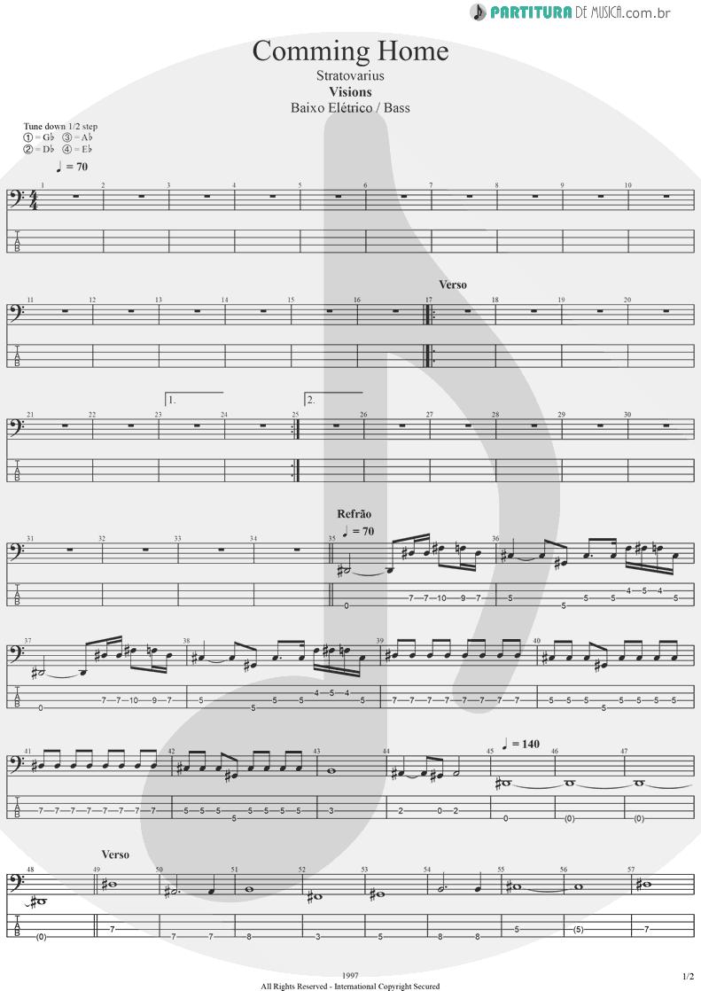 Tablatura + Partitura de musica de Baixo Elétrico - Coming Home | Stratovarius | Visions 1997 - pag 1