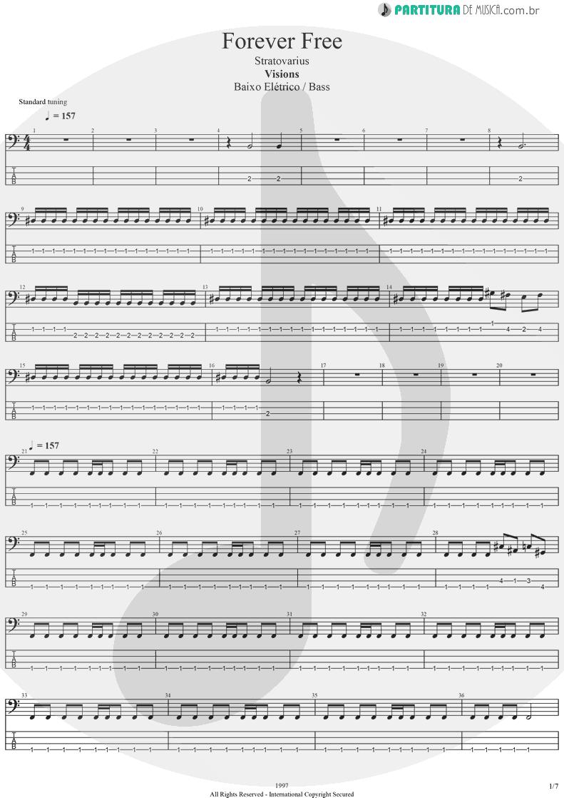 Tablatura + Partitura de musica de Baixo Elétrico - Forever Free   Stratovarius   Visions 1997 - pag 1