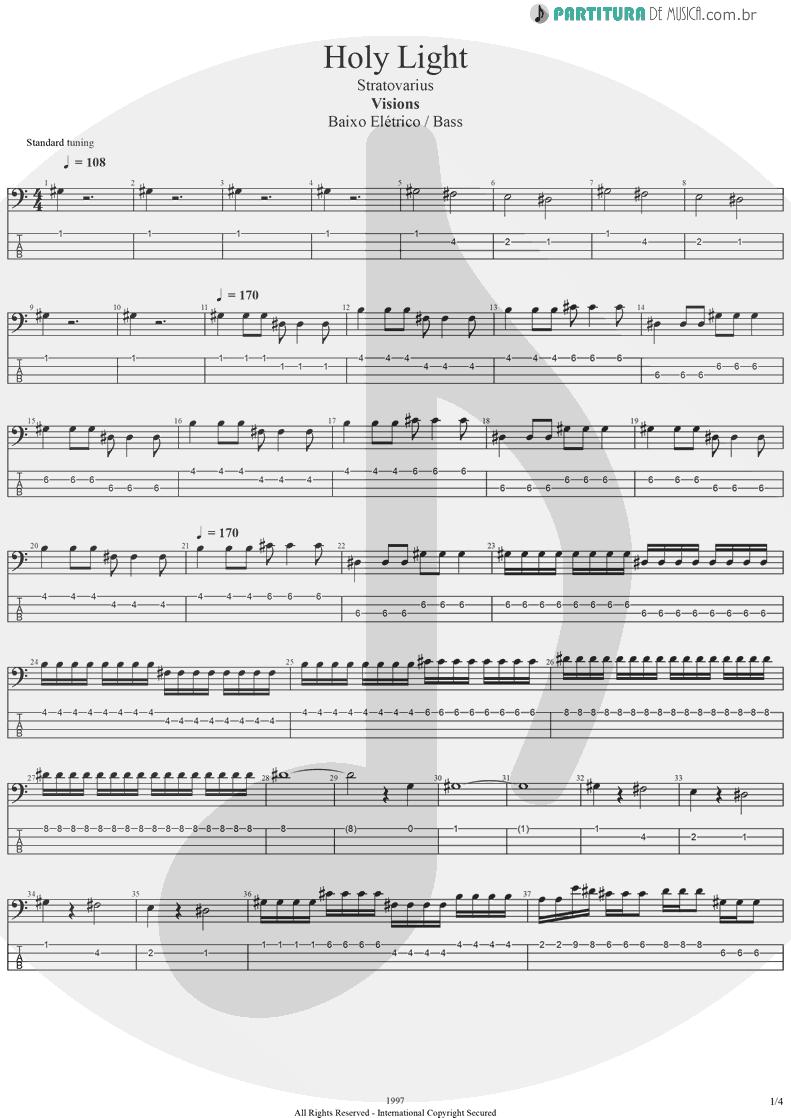 Tablatura + Partitura de musica de Baixo Elétrico - Holy Light   Stratovarius   Visions 1997 - pag 1