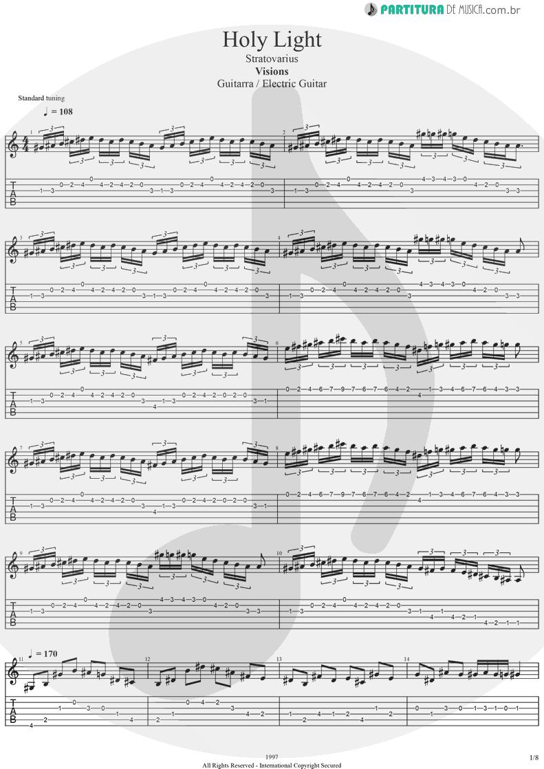 Tablatura + Partitura de musica de Guitarra Elétrica - Holy Light | Stratovarius | Visions 1997 - pag 1