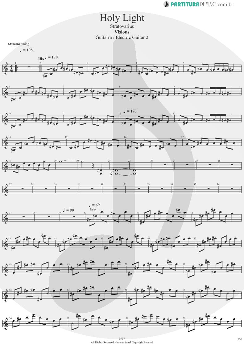 Partitura de musica de Guitarra Elétrica - Holy Light | Stratovarius | Visions 1997 - pag 1