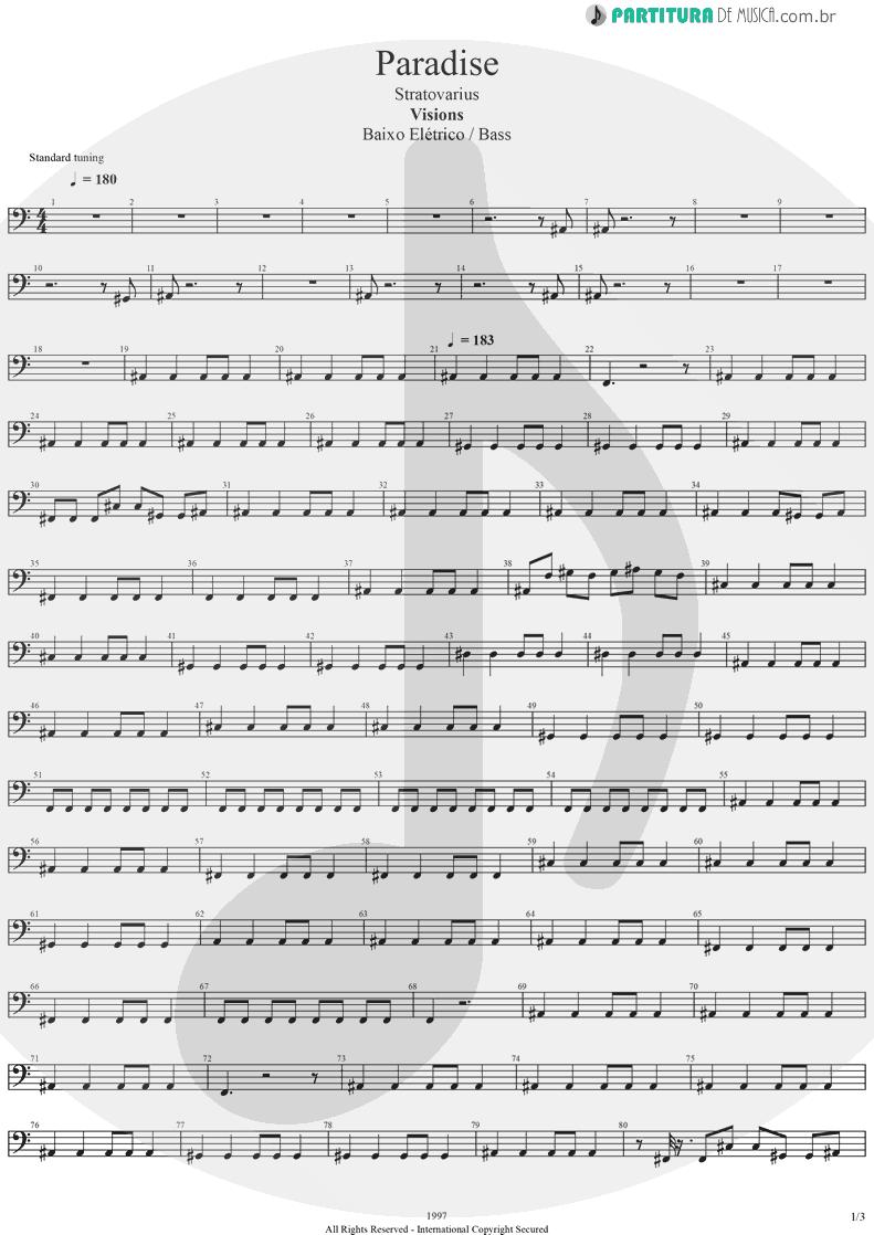 Partitura de musica de Baixo Elétrico - Paradise   Stratovarius   Visions 1997 - pag 1