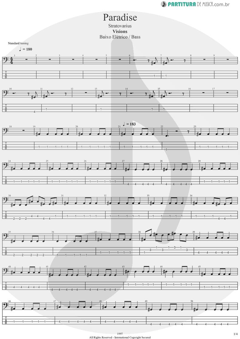 Tablatura + Partitura de musica de Baixo Elétrico - Paradise | Stratovarius | Visions 1997 - pag 1