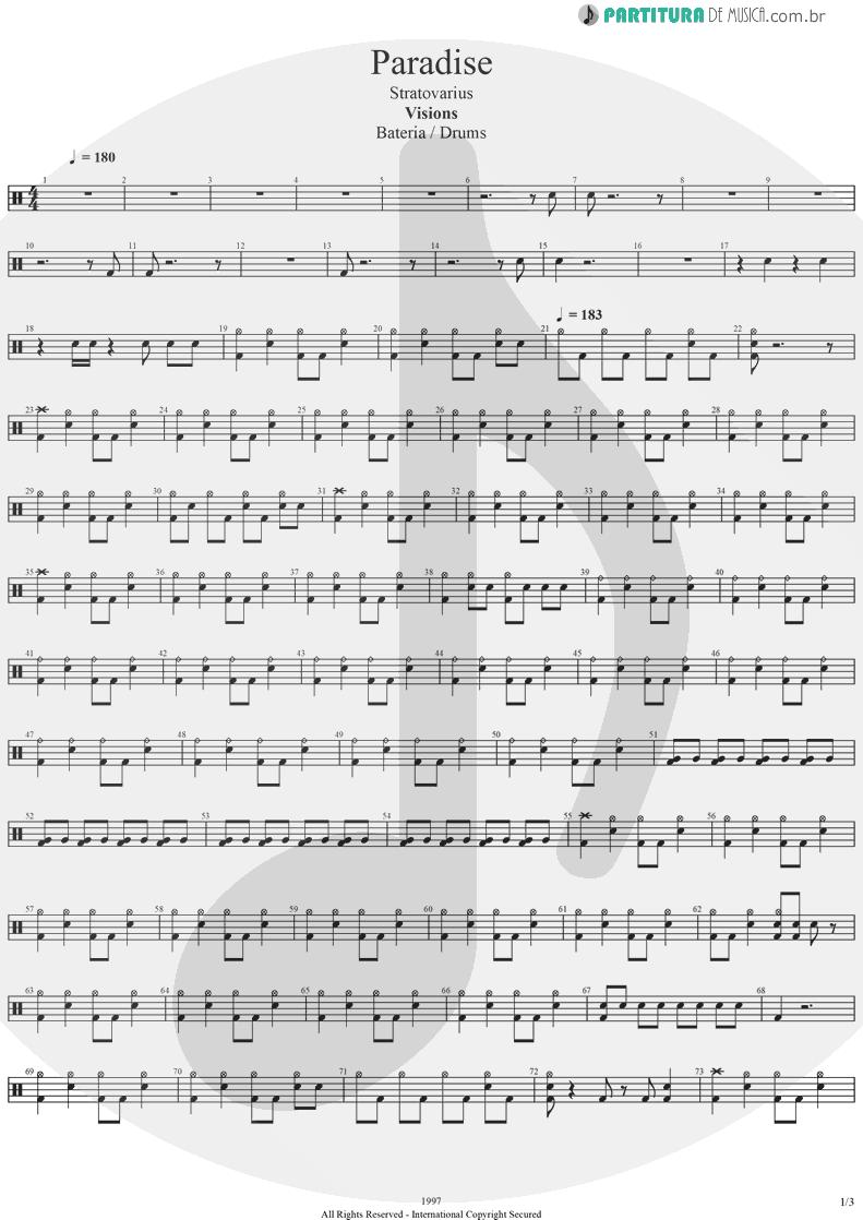 Partitura de musica de Bateria - Paradise | Stratovarius | Visions 1997 - pag 1