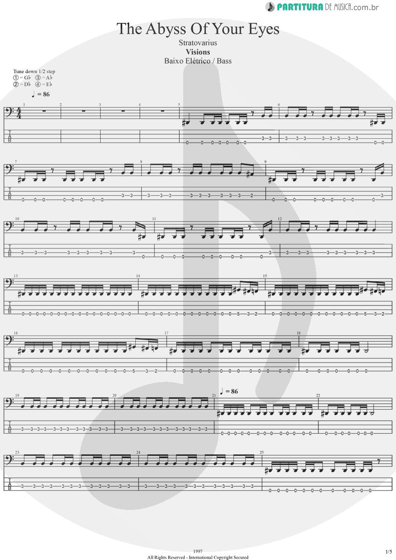 Tablatura + Partitura de musica de Baixo Elétrico - The Abyss Of Your Eyes | Stratovarius | Visions 1997 - pag 1