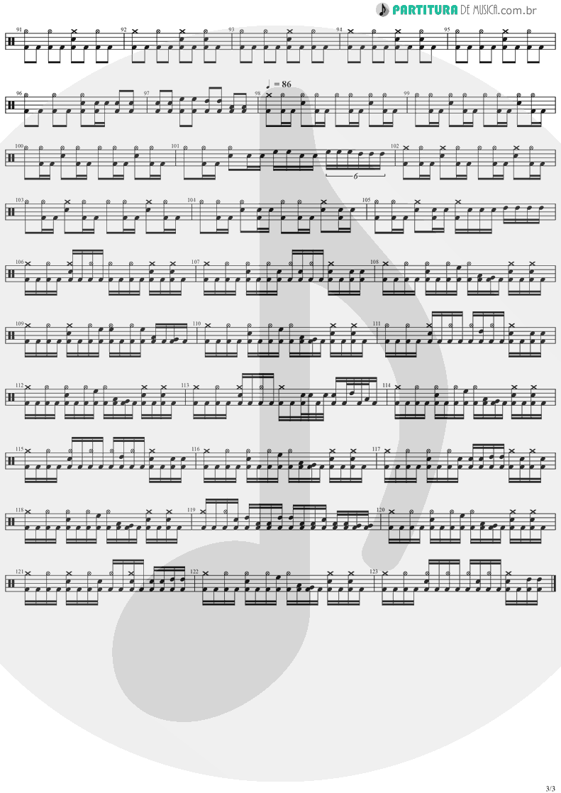 Partitura de musica de Bateria - The Abyss Of Your Eyes | Stratovarius | Visions 1997 - pag 3