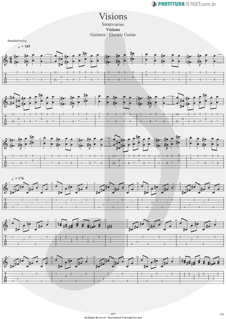 Tablatura + Partitura de musica de Guitarra Elétrica - Visions | Stratovarius | Visions 1997 - pag 1