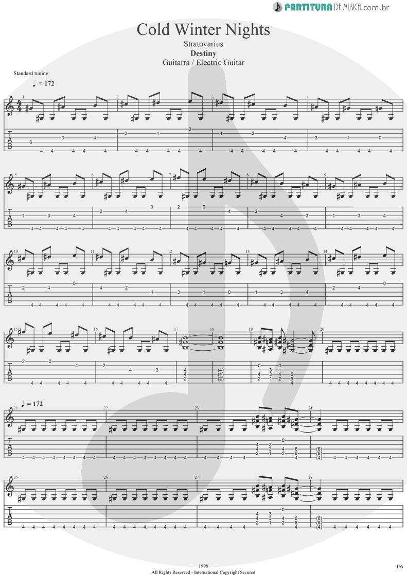 Tablatura + Partitura de musica de Guitarra Elétrica - Cold Winter Nights | Stratovarius | Destiny 1998 - pag 1