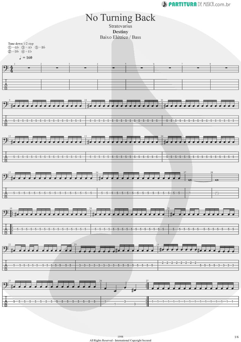 Tablatura + Partitura de musica de Baixo Elétrico - No Turning Back | Stratovarius | Destiny 1998 - pag 1