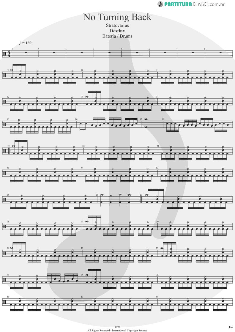 Partitura de musica de Bateria - No Turning Back | Stratovarius | Destiny 1998 - pag 1