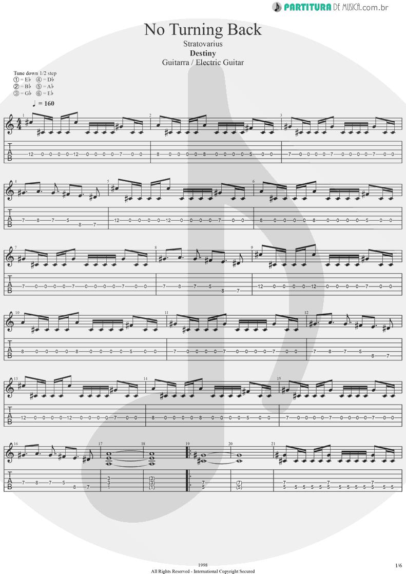 Tablatura + Partitura de musica de Guitarra Elétrica - No Turning Back   Stratovarius   Destiny 1998 - pag 1