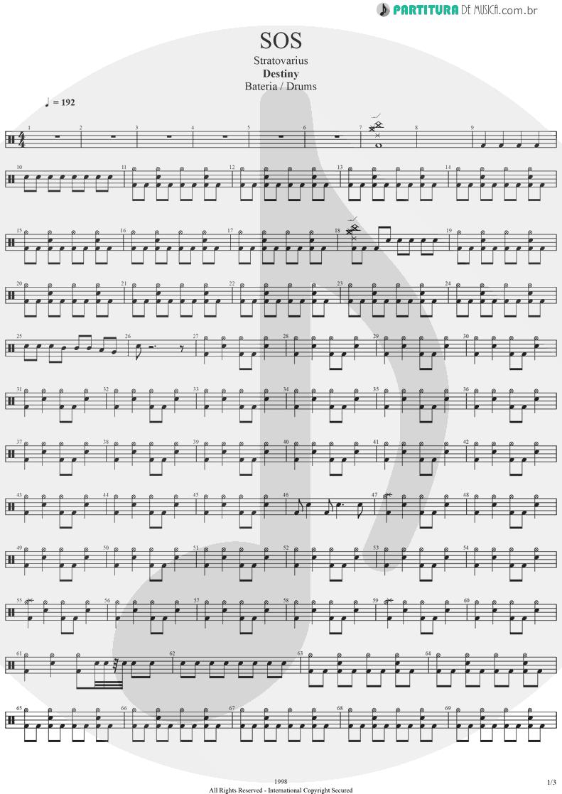 Partitura de musica de Bateria - SOS | Stratovarius | Destiny 1998 - pag 1